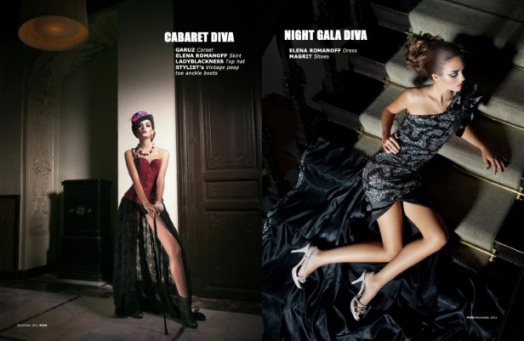 Estilismo de moda en la editorial 'Diva playing' publicada en la revista Fashion Chicago Magazine [noviembre 2011].