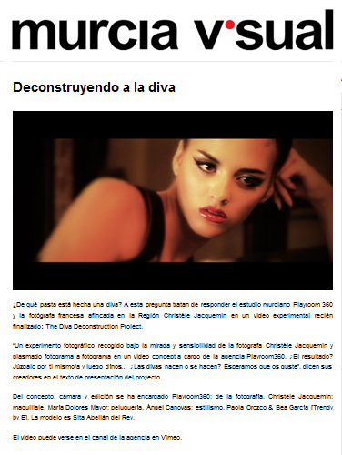 Making of 'The diva decosntruction project' en la editorial 'Diva playing' publicada en Murcia Visual [octubre 2011].